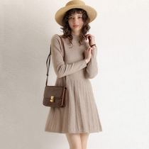 Luo Tong new semi-turtleneck cardigan womens long dress cashmere slim-fit base knitted sweater dress autumn and winter