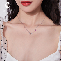 Numerous empty Star moon necklace female sterling silver ins simple niche design clavicle chain tide mesh red temperament cool wind jewelry