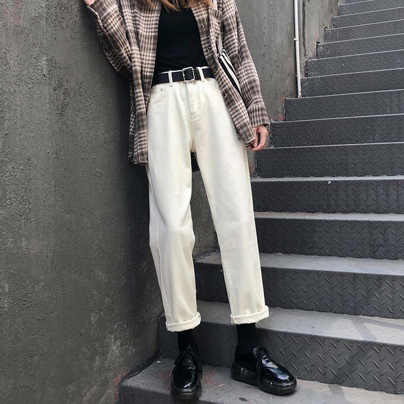 Beige plush jeans womens autumn winter straight straight loose high waist thin 2020 new wide-legged dad pants