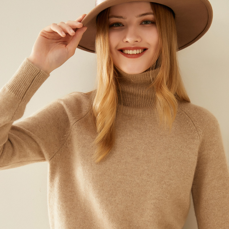 High-necked cashmere sweater womens short double-stock thickened head autumn and winter model 100% pure cashmere loose knitted bottom sweater