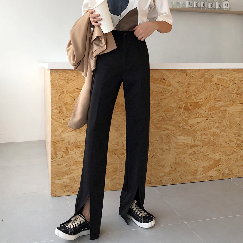 Split straight leg pants women's high waist pants spring and summer new styles are thin and versatile casual wide-leg pants fashion suit pants trousers