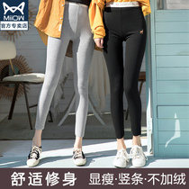 Cat leggings female thin section of nine pantyhose spring and autumn thread cotton pressure slim vertical stripes thin inside and outside wear