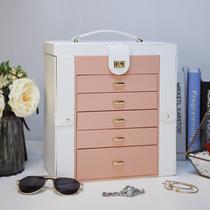 Hand jewelry Jewelry box storage box Large capacity high-end earrings earrings Jewelry box ins wind European high-end luxury