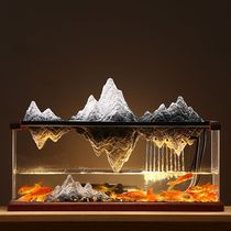 Ceramic fake mountain feng shui to attract money and water ornaments Chinese modern simple living room decoration landscape fish tank opening gifts.