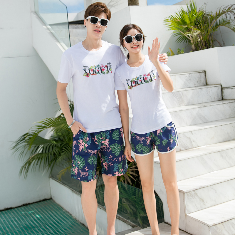 Beach pants men can go under the hot spring swimming trunks couple vacation size loose version of the five-point anti-embarrassing quick dry shorts