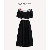 Large size 2021 summer French waist embroidery high waist bow lantern sleeve dress Hepburn style quality is thin