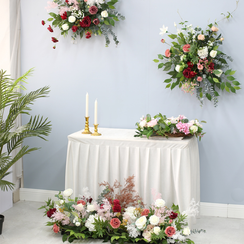 Yees birthday decoration floral festival venue placed flower wall hanging bouquets floor-to-ceiling lead flower shopping mall cabinet set fake flowers