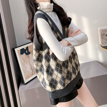 Knitted vest womens spring and autumn 2021 New Korean version of loose V-neck waistcoat sweater and horse jacket
