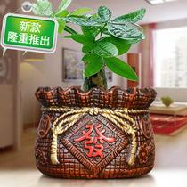 European-style mostly h meat red pottery simple silver willow creative ceramic tree multi-special round personality bamboo gold flower pot