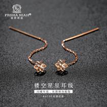 Fasania 18k gold long version of the earrings of the female hollow star rose earrings flower cherry blossom golden ear drop small fresh
