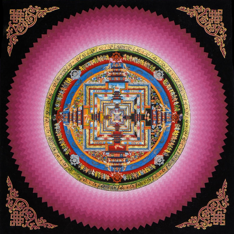 Tangkatan City when the wheel of King Kong Mandala Tibetan boutique living room decorative painting mineral pigment hand-painted gold hanging painting
