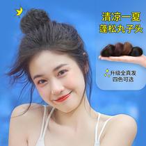 Ball head wig Female Xia Zhen hair hair circle Fluffy lazy hair ornaments Cute ancient Hanfu wig package plate hair artifact