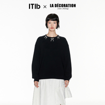 TIB × LA déCORATION Zhang Xun designer famous Pearl bow solid color round neck sweater female