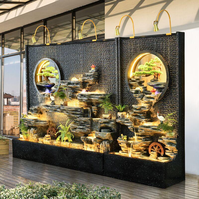 Faux mur de rideau d'eau de fontaine de montagne réglé pièce villa cour feng shui roue pour attirer l'argent paysage écran paysage hall d'hôtel paysage