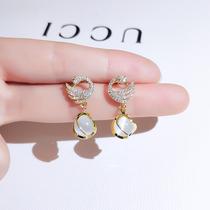 Swan earrings 2021 new fashion high-grade sense exquisite temperament cats eye stone drop earrings women sterling silver hypoallergenic earrings
