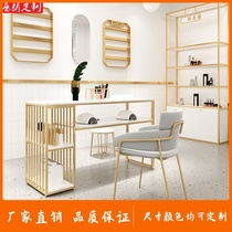 Nail art table and chair set Nordic simple marble wrought iron double mall table net red single double nail art table