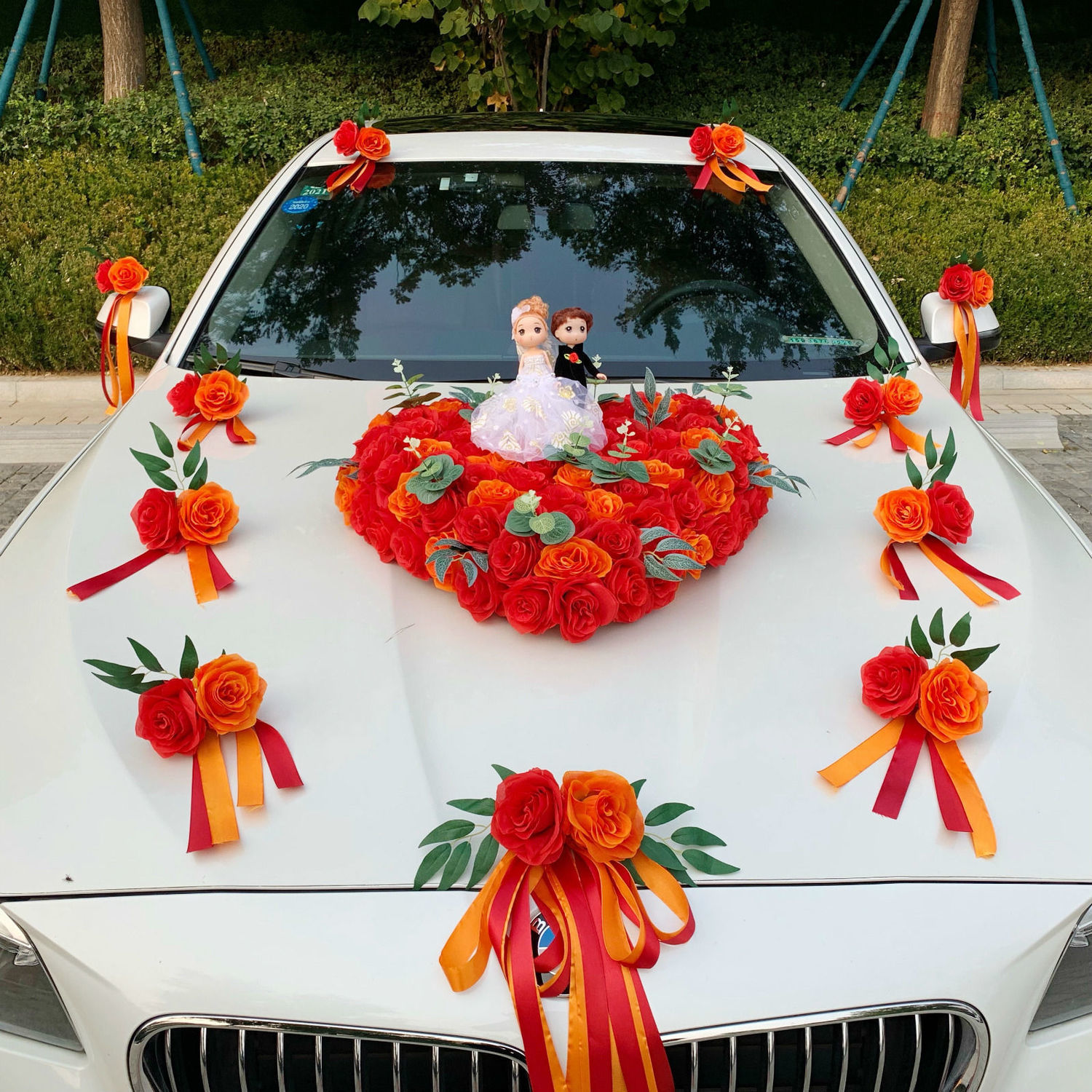 Main knot wedding car decoration car head flower full set set creative flower car suction cup-type wedding team head car flower supplies