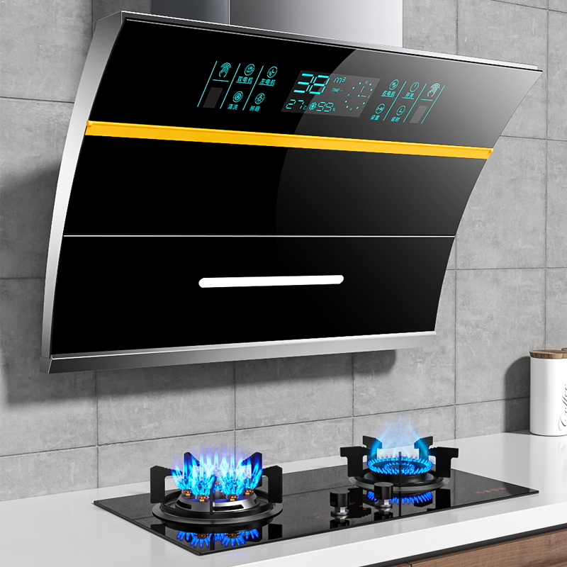 Good wife range hood gas stove package Home kitchen large suction range hood gas stove set combination