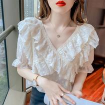 Super fairy embroidery ruffle cross V-neck Chiffon shirt womens 2021 summer new loose fashion half sleeve top