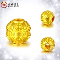 999 gold copper coins wrapped around the gold transport beads bracelet 3D hard gold beads beads beads with road pass