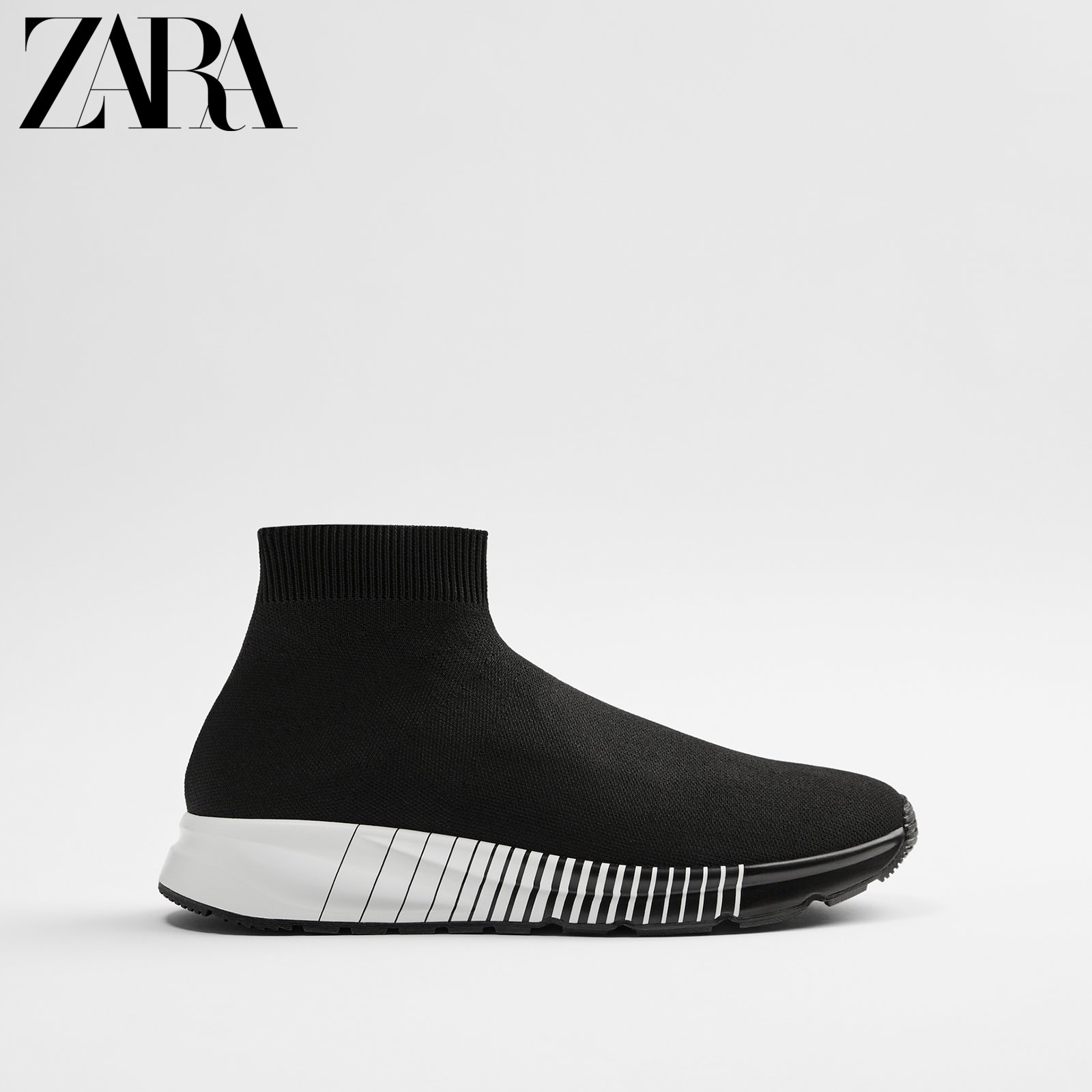 ZARA new men's shoes black high-top sock sports ankle boots 12101620040
