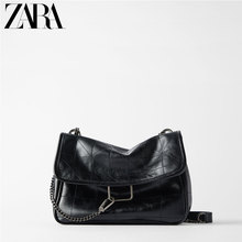 ZARA New Women's Bag Black Rock Soft Single Shoulder Slant Bag 16312004040