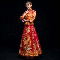 Xiu wo dress Bride 2018 new wedding Chinese dress costume hijab clothes shake tone reception