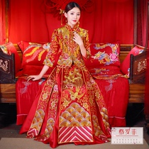 Groffey 2018 Autumn new show wo dress bride wedding dress Chinese style dress toast Dragon and Phoenix gown Show and