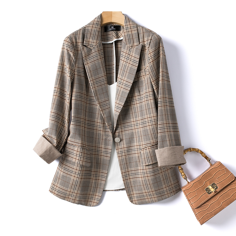 Net red blast street plaid small suit jacket women thin spring and summer new Korean version of the plaid retro commuter suit top