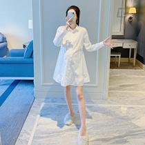 По беременности и родам рубашка платье весна осень белая рубашка дно в длинном разделе профессиональное платье газ материнства весенняя блузка