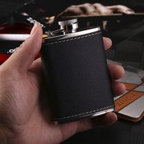 Stainless steel hip flask mens high-end hip flask outdoor 304 steel thickened wrapped leather lychee pattern small hip flask carry