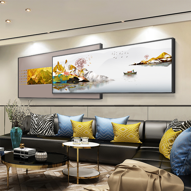New Chinese style living room decoration horizontal print modern simple sofa background wall Abstract landscape painting bedroom bedside hanging picture