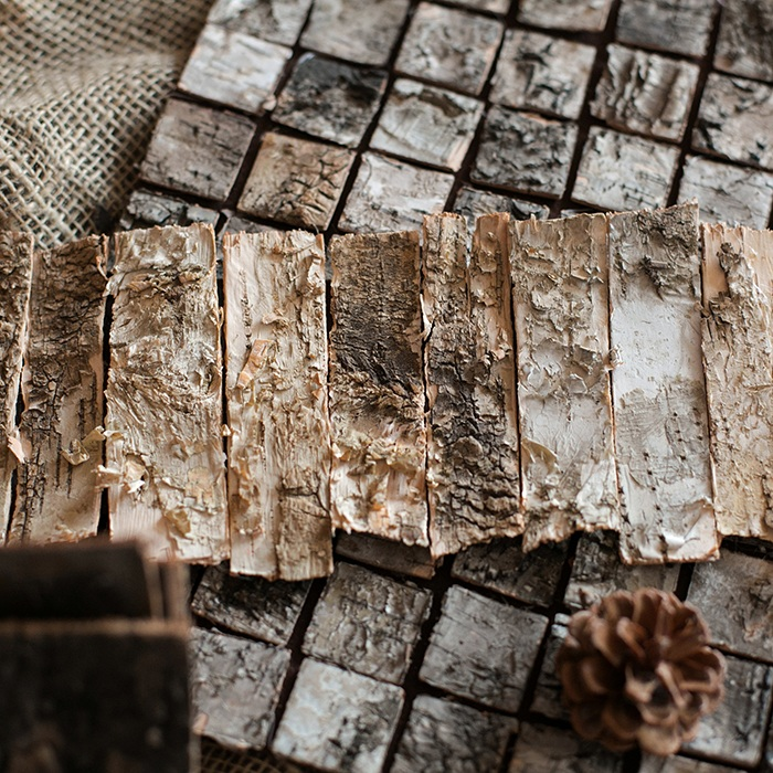 Natural birch bark mosaic DIY decoration ZAKKA forest photography props