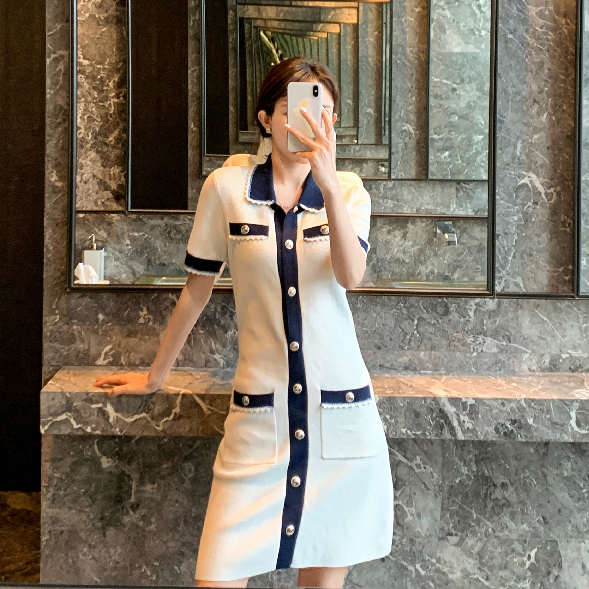 Junyuan MAJE TEAM 2021 spring summer new item small fragrance style Polo french lace breasted knitted dress female