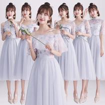 Bridesmaid Dress mid-length women 2018 new summer Korean version gray Bridesmaid Evening Dress sisters skinny graduation