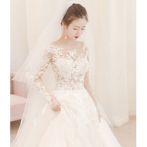 Long tailed summer lace slim fit large court wedding dress
