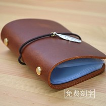 Handmade cowhide Card Bag Card Pack 20 card can replace the inner birthday gift free Engraving