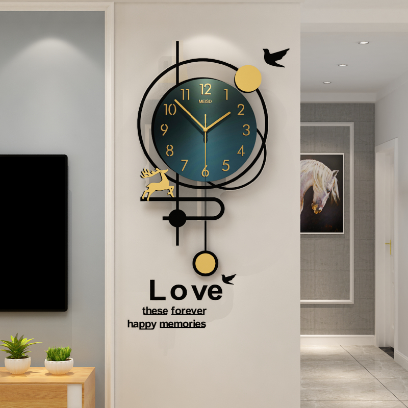 Fashion personality light luxury wall clock 錶 living room wall clock home creative modern simple net red Nordic clock atmosphere
