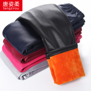 Autumn and winter children Leggings female baby boy Pants Girls winter wear thick warm cashmere and PU leather pants