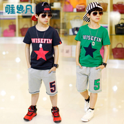 The boys' 5 big boys' summer suit children summer 7 8 9 10 cotton short sleeved sportswear boy 12-15 years old