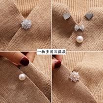 Cardigan pin buckle Japanese cute fixed clothes Decorative brooch Female anti-light buckle artifact neckline high-end luxury