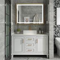 Nordique intelligent cabinet de toilette combinaison salle de bains américain chêne lavabo cabinet lavabo cabinet lavabo miroir cabinet