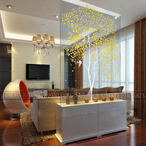 Art Glass decorative living room Xuan Guan Partition steel scrub carving screen TV background wall technology customization