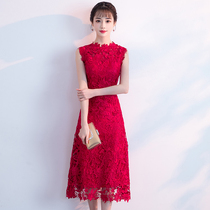 Toast to the bride in the summer 2018 new Red Wedding dress in the skirt of a large slim door clothing female