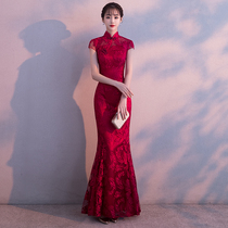 Fish tail sexy red toast dress