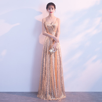 Golden Elegance Sexy Party Party evening dress
