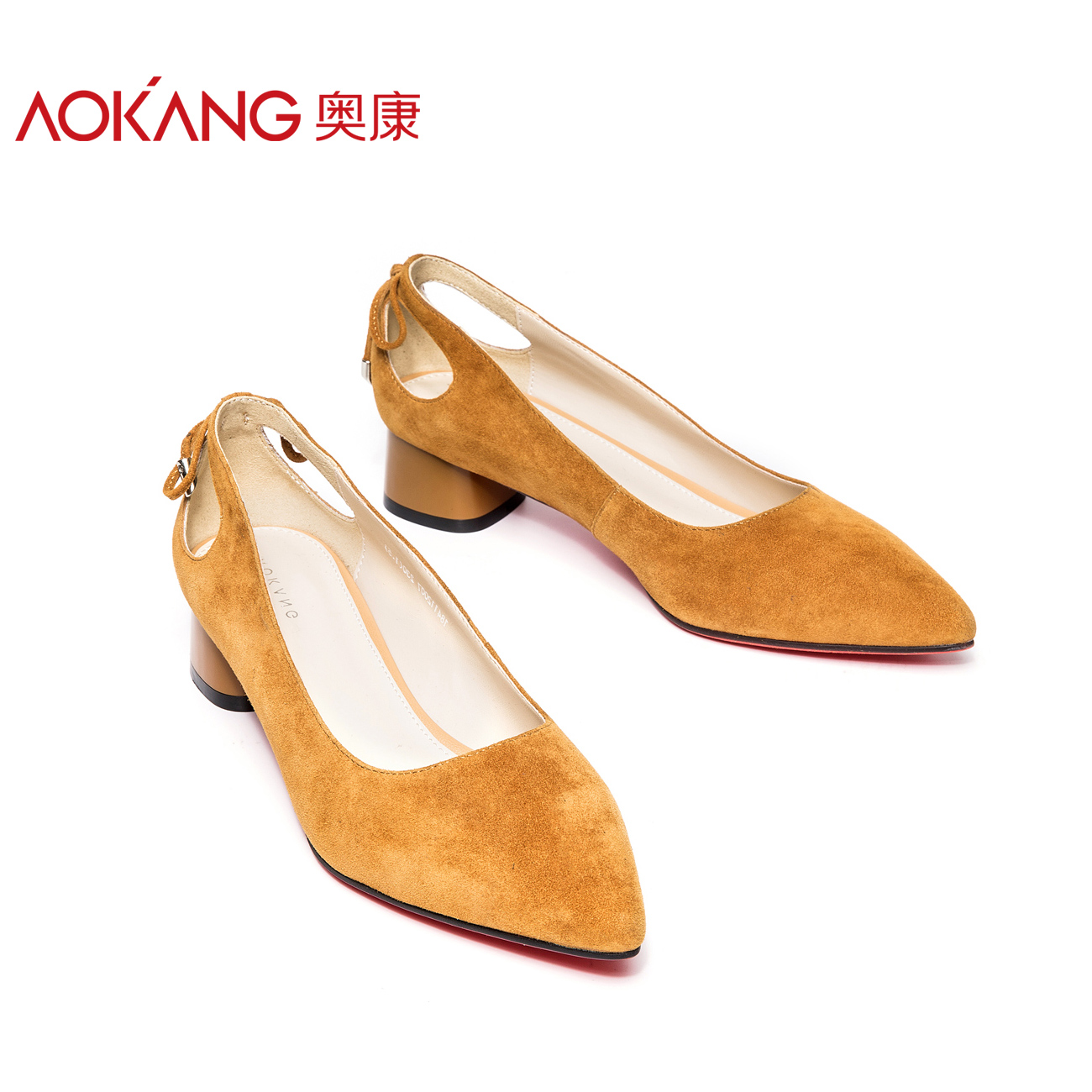 Aokang official flagship store women's shoes with 2018 new Korean fashion pointy casual tide with women's shoes