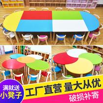 Детский сад столы и стулья раннего обучения детей начальной школы студентов твердых деревянные столы и стулья установить художественную живопись репетиторство учебный стол