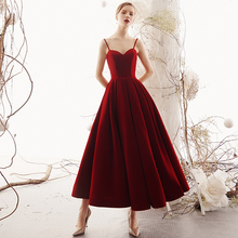 Wine dress Bride in the summer of 2019 slim modern birthday banquet red sling evening dress can be worn in Spring Festival