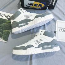 2020 осенью и зимой новые высокоствольные мужские туфли с холстом спортивный досуг тенденция малых белые ботинки борту папа прилив обувь